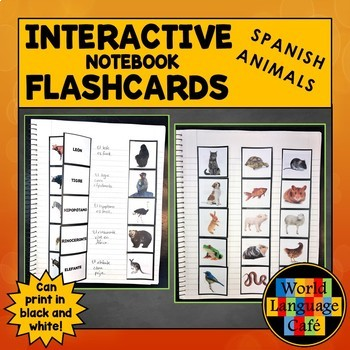 Spanish Animals Interactive Notebook Flashcards, Animales