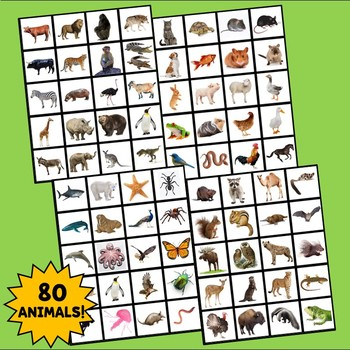 Spanish Animals Flashcards, Interactive Notebook Flashcards, Animales