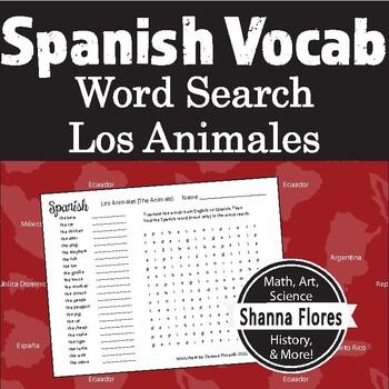 Spanish Animals - Los Animales Word Search; Translate into Spanish; Vocabulary