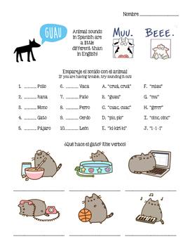 Spanish - Animals (Substitute Plan)