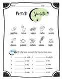 French Animals Worksheet Packet