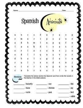 Spanish Animals Worksheet Packet