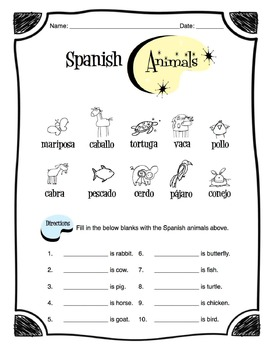 Spanish Animals Worksheet Packet by Sunny Side Up Resources | TpT