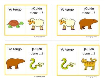 Spanish Animals Yo tengo ... Quien tiene...? Los Animales Game