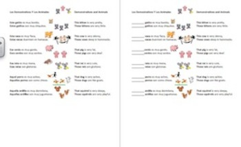Spanish Animals and Demonstrative Adjectives Bilingual Poem and Activities