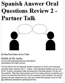 Spanish Answer Oral Questions Review 2-Partner Talk