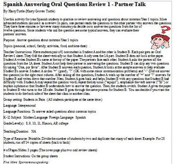 Spanish Answering Oral Questions Review 1 - Partner Talk