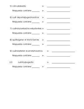 Spanish Answering Questions with Interrogatives Practice
