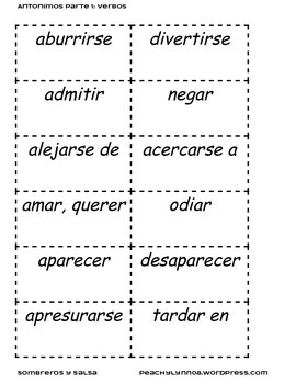 Spanish Antonyms / Antonimos Part 1: Verbs / Verbos