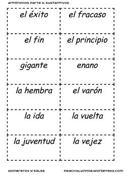 Spanish Antonyms / Antonimos Part 2 : Nouns/ Sustantivos