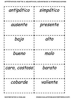 Spanish Antonyms / Antonimos Part 3: Adjectives and Beyond