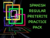Spanish Preterite Regular -Ar/-Er/-Ir Verb Conjugation Practice Worksheets Pack
