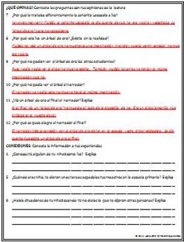 Spanish - Arbol de Oro - Extensive Reading Guide