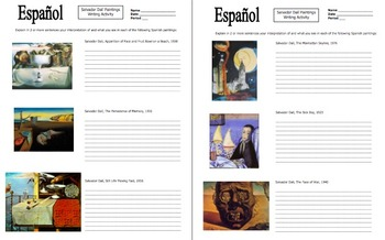 Spanish Art Based Activities Bundle of 5 Worksheets