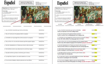 Spanish Art Based Activity - Diego Rivera Mural 9 True/False and Translations