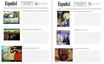 Spanish Art Writing Activity - Salvador Dali Paintings