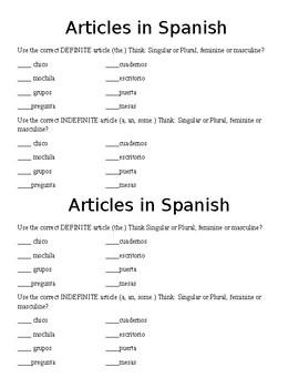 Spanish Article Practice