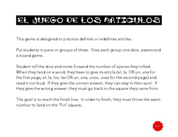 Spanish Articles Game