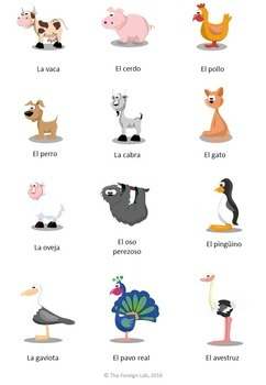 Spanish Articles Game with Animals Cards + Animals Handouts