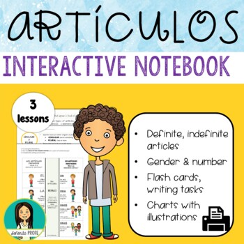 Spanish Articles, Gender & Number With Interactive Notebooks & Flash Cards
