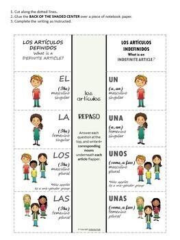 Los Artículos / Spanish Articles, With Interactive Notebooks & Flash Cards
