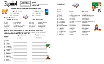 Spanish Articles Introduction and Practice Bundle of 6 - Definite and Indefinite