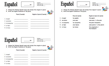 Spanish Articles and Nouns Plurals with Class Objects Quiz or Worksheet