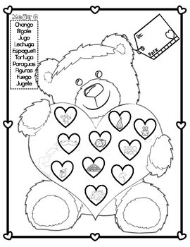 Spanish Articulation!! Bear Valentine's Day Card