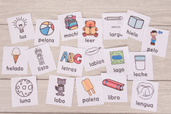 Spanish Articulation Cards and Games -- L Sounds and L Blends NO PREP
