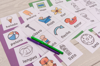 Spanish Speech Therapy Articulation Cards and Games -- L and L Blends NO PREP