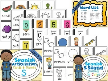 Spanish Articulation Cards and Games -- S Sound - NO PREP