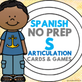 Spanish Speech Therapy - Articulation Cards and Games -- S Sound - NO PREP