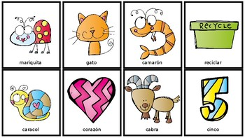 Spanish Articulation Flash Cards: k and g
