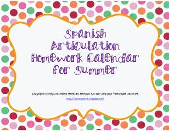 Spanish Articulation Homework Calendar for Summer