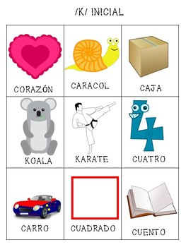 Spanish Articulation /k/ Cards