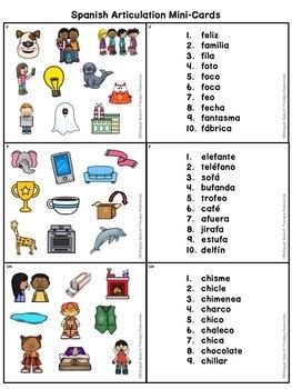 Spanish Articulation Mini-Cards