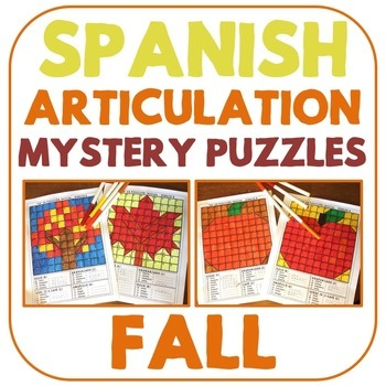 Spanish Articulation Mystery Puzzles - Fall Edition
