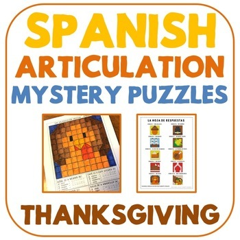 Spanish Articulation Mystery Puzzles - Thanksgiving Edition