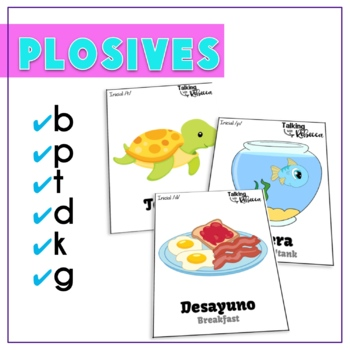 Spanish Speech Therapy Articulation Cards B P T D K and G Bundle