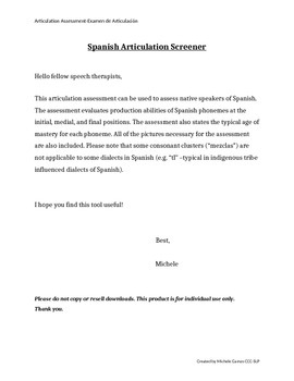 Spanish Articulation Screener