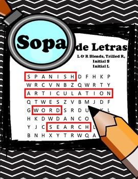 Spanish Articulation Word Search / Sopa de Letras!