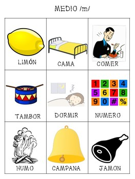 Spanish Articulation /m/ Cards