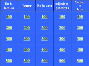 spanish así se dice level 1, chapter 2 review jeopardy (powerpoint), Powerpoint templates