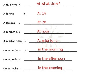Spanish- At What Time Guided Notes