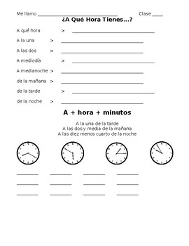 """Spanish- """"At What Time"""" Note Sheet"""