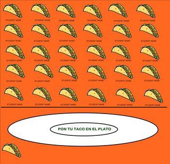 spanish attendance verbal warmup template fun taco theme 32 slides