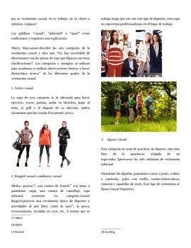Spanish Authentic Reading with Assessment: Clothing (la ropa) and Dress Codes