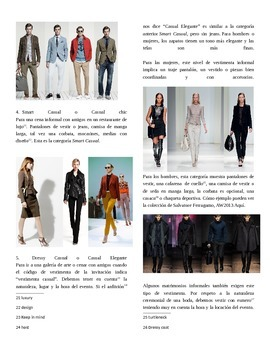 Spanish Authentic Reading with Assessment about Clothing and Dress Codes