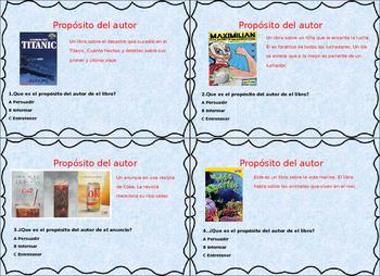 Spanish Authors Purpose Proposito del Autor Task Cards