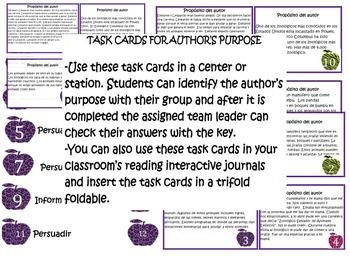 Spanish Author's Purpose Task Cards: 12 Cards: Persuade, I